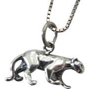 Sterling Silver 3 dimensional Panther pendant - Sterling silver Handmade jewelry