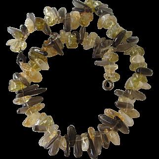 Citrine and Smokey Quartz necklace --Statement stone necklace - Fashion Handmade necklace