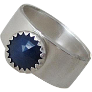 Natural Blue Sapphire Ring - Silver stone Handmade Ring