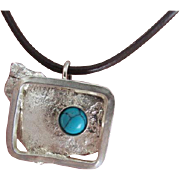 Turquoise Pendant - Stone Pendant in Reticulated Silver