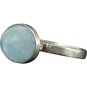 Blue Topaz cabochon ring - Handmade ring - Size 8