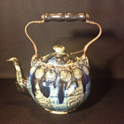 American Yellow Ware Pottery Teapot, Blue glaze, c 1800
