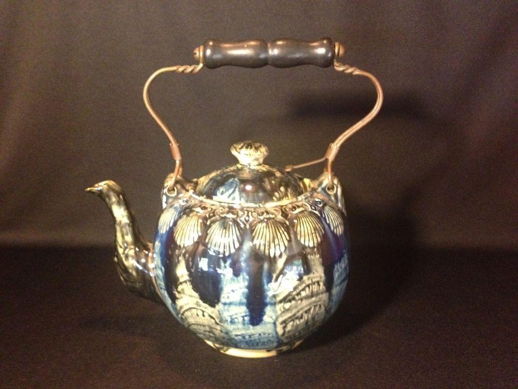 American Yellow Ware Pottery Teapot, Blue glaze, c 1800