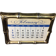 Vintage Tiffany Gold Washed Sterling Silver Bamboo Framed Calendar