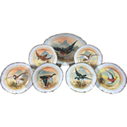 Hand-Painted 7 Piece Limoges Game/Bird Set