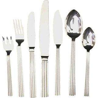 Georg Jensen Bernadotte Sterling 12 Seven Piece Place Setting minus 2 Large Spoons, 82 Pc