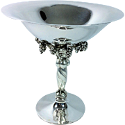 "Georg Jensen Hand Hammered 10 5/8"" Sterling Silver Grape Compote; 264A"