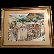"""Henry Gasser Watercolor City Scene w/ People; 27.5"""" x 21.5"""""""