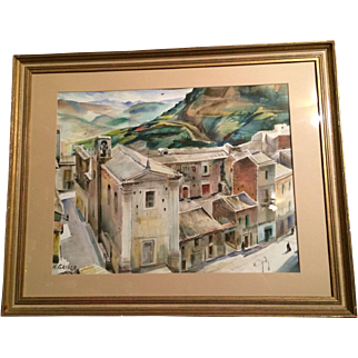 "Henry Gasser Watercolor City Scene w/ People; 27.5"" x 21.5"""