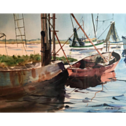 John Whorf (Amrican 1903-1959) Harbor Scene Watercolor