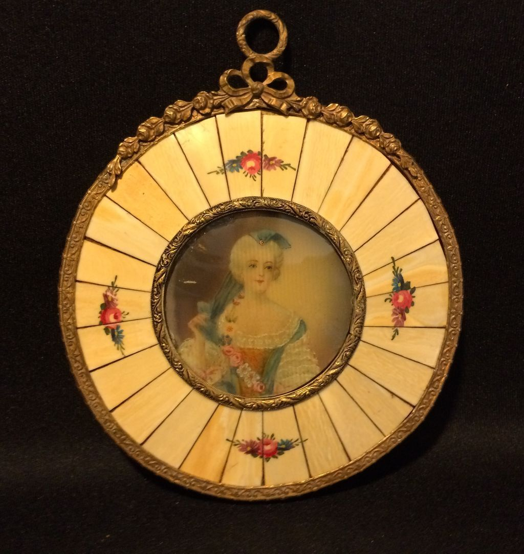19th Century Miniature Portrait with Handpainted Frame