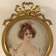 Signed Antique Hand Painted Miniature Portrait Gilt Bronze Frame