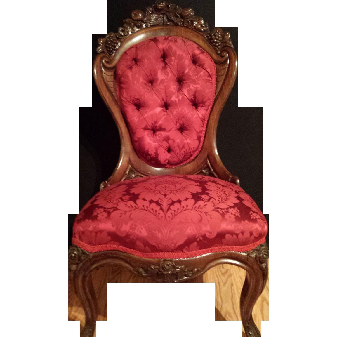 John Henry Belter Rosewood Antique Victorian Chair, Rosalie w/ Grape Pattern - John Henry Belter Rosewood Antique Victorian Chair, Rosalie W