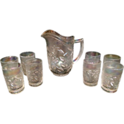 Imperial White Carnival Glass Pitcher & 8 Tumblers