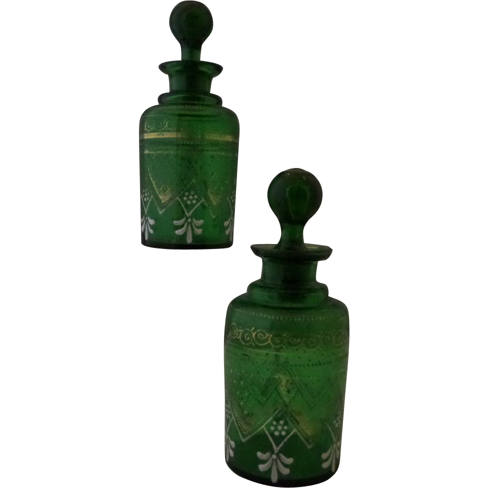 Bohemian Green Glass Scent Perfume Cologne Bottles, Pair of Nineteenth Century