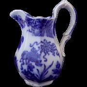 Victorian Flow Blue Pitcher Jug Chinese Oriental Pattern 'Hyson'