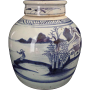 Chinese Ginger or Storage Jar and Cover - 18th Century Blue & White