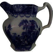 "Flow Blue Pitcher Watteau Pattern New Wharf Pottery 5. 5/8"" Circa 1878 - 1894  #2"