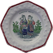 Childs Pearlware Staffordshire Plate 'Marriage Dress - Illyrians' circa 1840 Transferware
