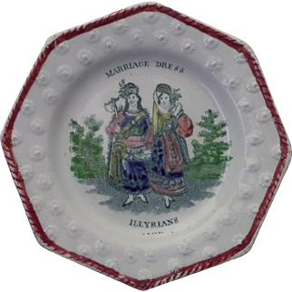 Childs Pearlware Staffordshire Plate 'Marriage Dress - Illyrians' circa 1840