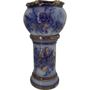 ON HOLD for Betty - Flow Blue Miniature Jardiniere and Stand - T, Forester - Imperial Blue C1880
