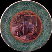 Staffordshire F & R Pratt 'The Truant' Malachite Marbled Border Plate 1851 Prattware Pratt Ware