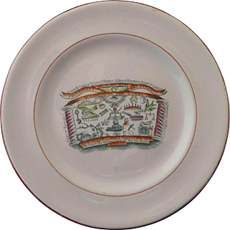 Staffordshire Commemorative Transfer Print Plate Protestant Ascendancy Orange Order Masonic Circa 1820 - 30