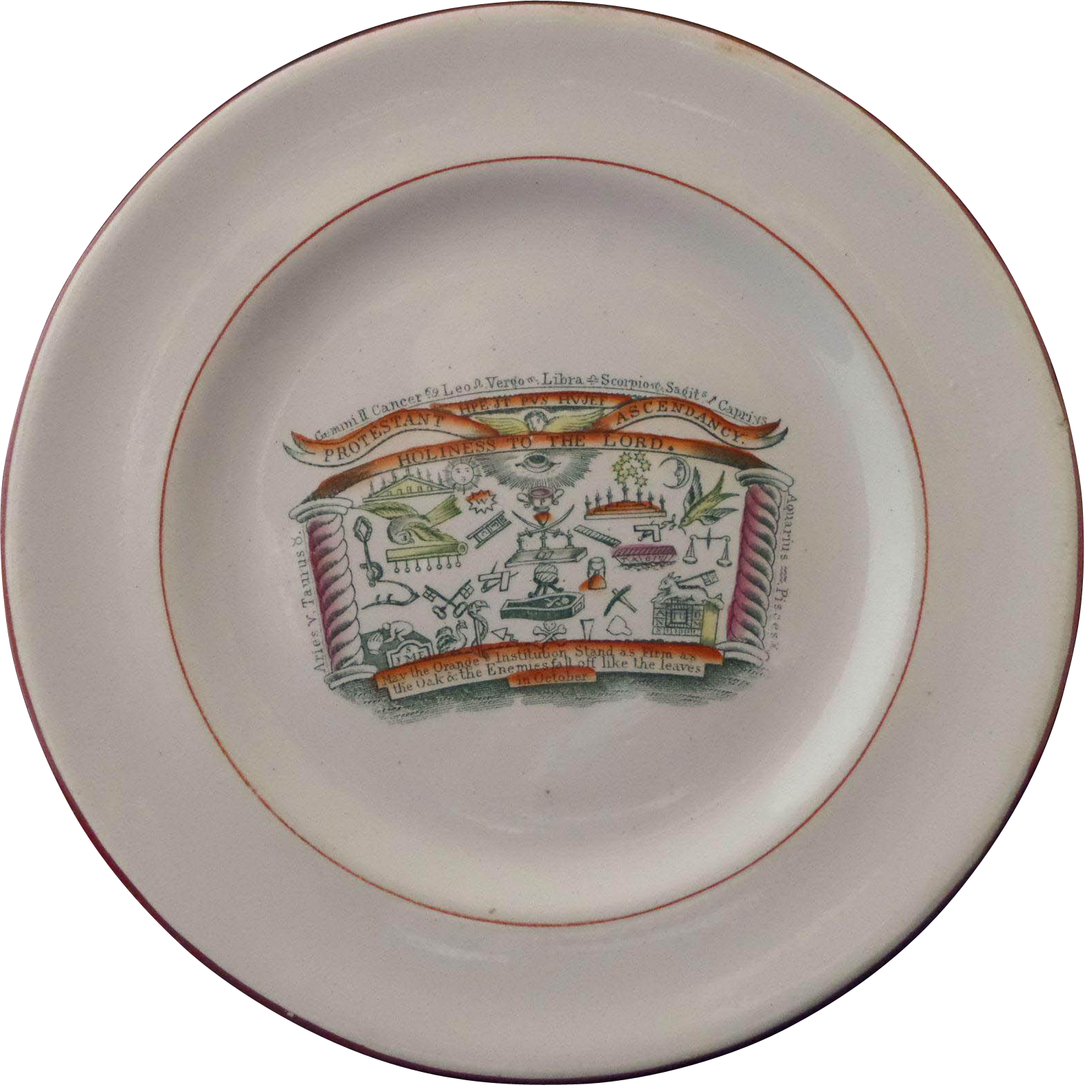 Staffordshire Commemorative Transferware Print Plate Protestant Ascendancy Orange Order Masonic Circa 1820 - 30