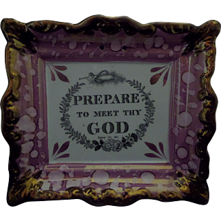 Sunderland Pink Lustre or Luster Plaque 'Prepare to Meet Thy God' c1850