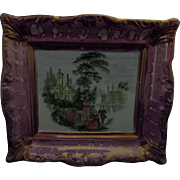 ON HOLD for Stephen - Sunderland Lustre or Luster Pottery Plaque 'Romantic Landscape' Circa 1850