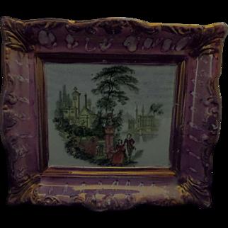 ON HOLD for Stephen - Sunderland Lustre or Luster Pottery Plaque 'Romantic Landscape' Circa 1850
