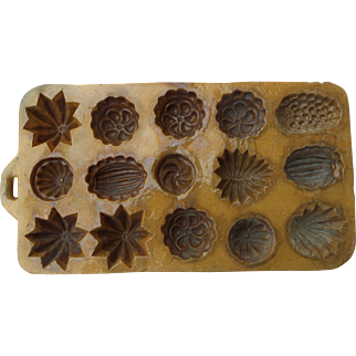 Antique French Terracotta Madeleine Cake mould Tray Nineteenth Century