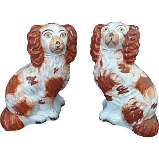 "Staffordshire Spaniels pair of Russet and White models 6"" tall Circa 1860"