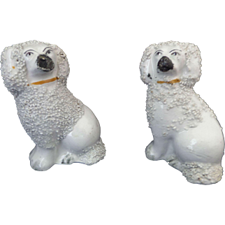 Staffordshire Dog Poodle Spaniel Figures Miniature Doll House Size 1800's