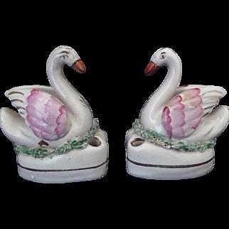 Staffordshire Swan Inkwell pair Circa 1860