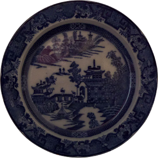 Leeds Pottery Blue and White Transfer Dessert Plate 'Long Bridge' Pattern Pearlware Circa 1790  - 8.1/4""