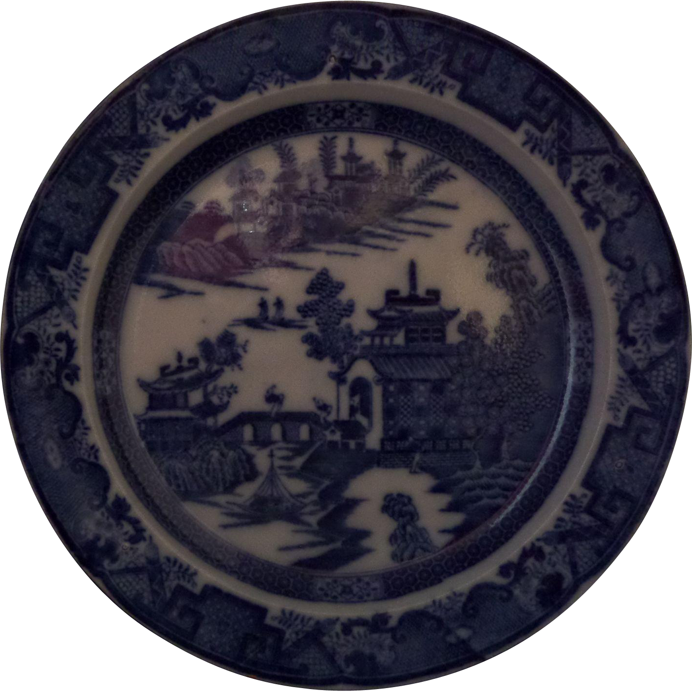 Leeds Pottery Blue and White Transferware Dessert Plate 'Long Bridge' Pattern Pearlware Circa 1790  - 8.1/4""
