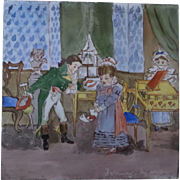 ON HOLD for MARLENE Minton and Hollins Childrens Tile - Month of February 'My Valentine' Circa 1880 hand painted polychrome tile