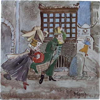 Minton and Hollins Childrens' Tile - Month of March circa 1880 Hand Painted Polychrome tile