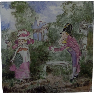 Minton and Hollins Childrens Tile - Month of May circa 1880 hand painted Polychrome Tile