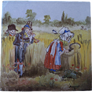 ON HOLD for MARLENE Minton and Hollins Childrens Tile - Month of August circa 1880 Hand Painted Polychrome Tile