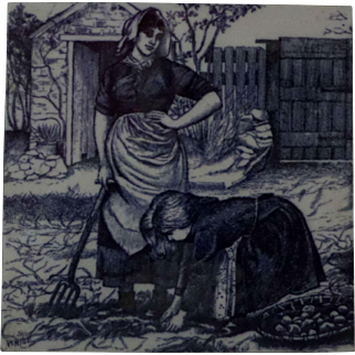 Minton Tile William Wise Country Village Life - Picking Potatoes