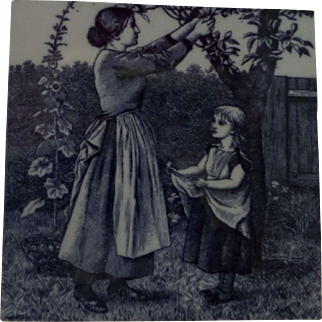 Minton Tile William Wise Country Village Life - Fruit Picking
