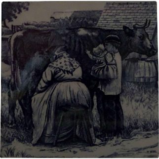Minton Tile William Wise Country Village Life - Milking the Cow