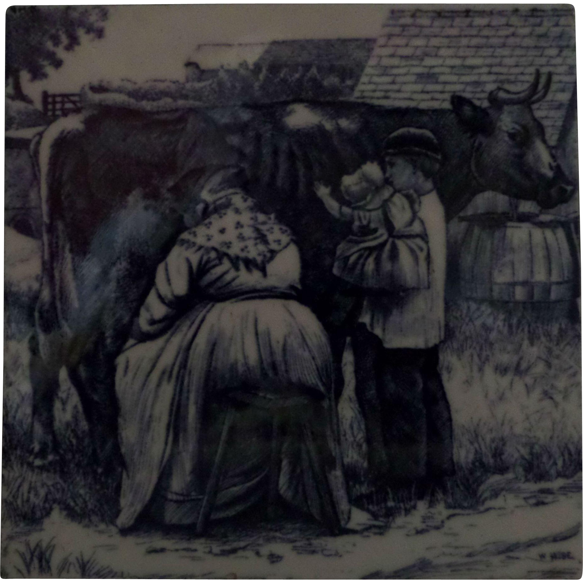 Minton Transferware Tile William Wise Country Village Life - Milking the Cow