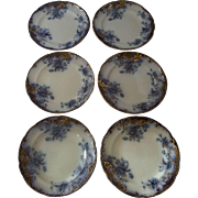 "Flow Blue Flanders pattern plates 8"" diameter Set of 6 Nineteenth Century"
