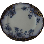 "Flow Blue Flanders Pattern Dinner Plate 9. 3/4"" diameter Nineteenth Century"