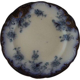 "Flow Blue Flanders Pattern Serving Plate 10. 5/8"" Nineteenth Century"