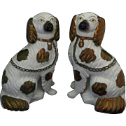 Staffordshire Spaniel Dogs Separate Front Leg Pair Copper Lustre Circa 1860