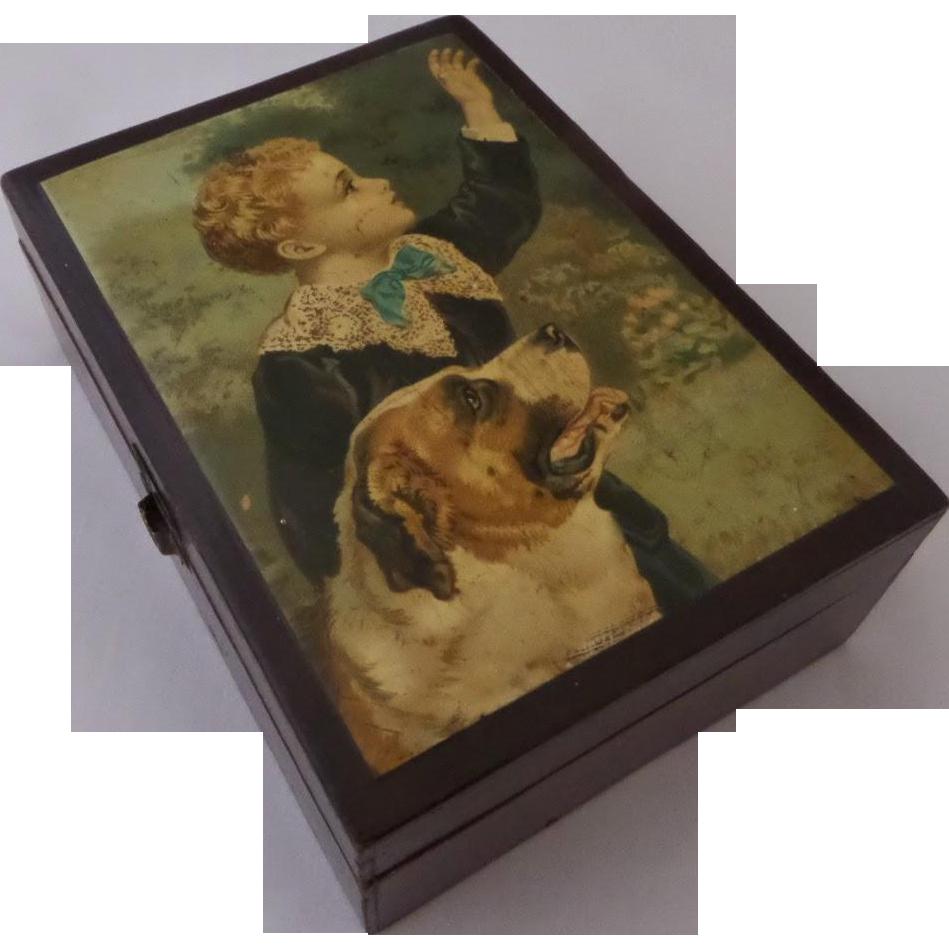 Treen Trinket Sewing Box Boy and Dog Chromo Lithograph Print St. Bernard 1800's